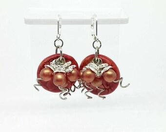 Fire Red Cluster Earrings