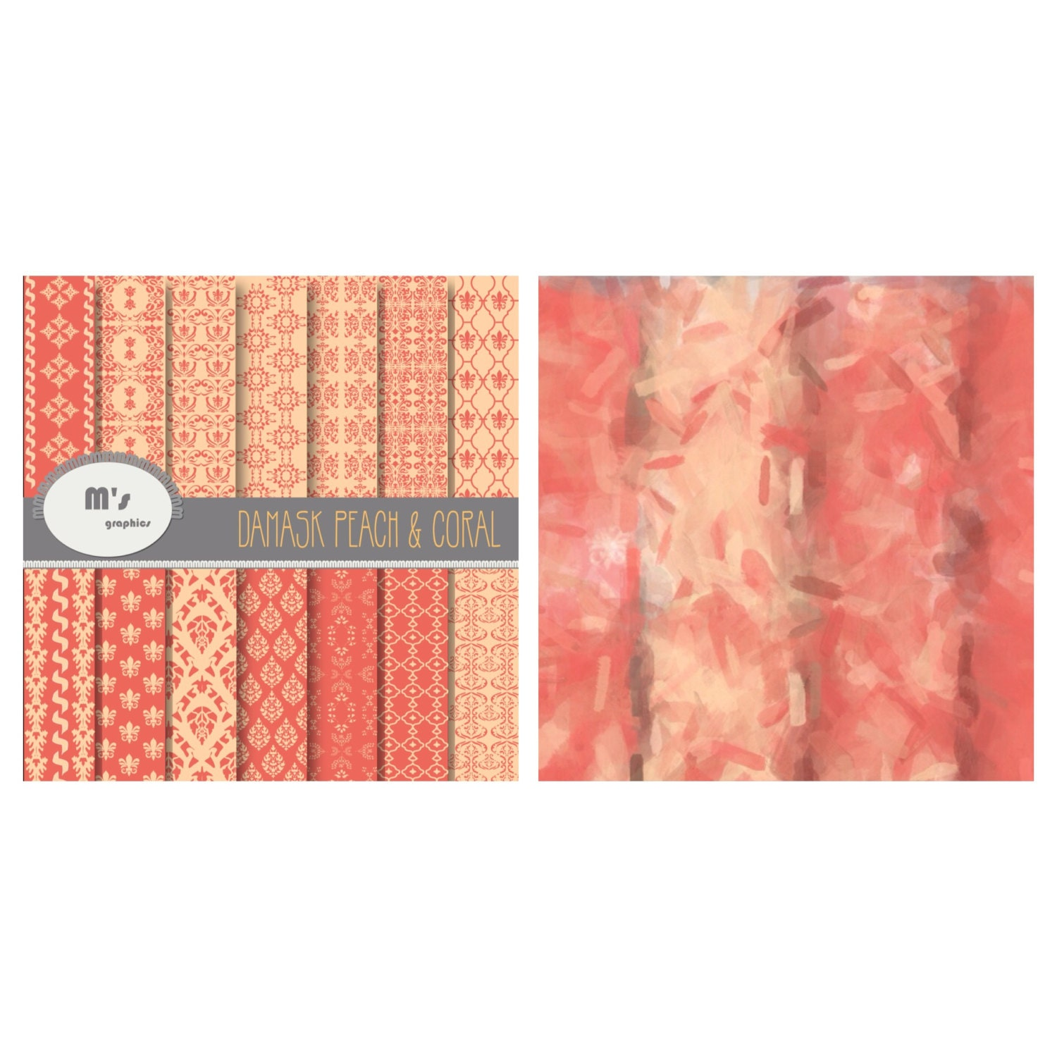 Damask Peach And Coral 14 Damask Papers 2 Plain Backgrounds