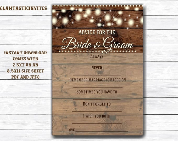 Advice for the bride and Groom, Rustic Bridal Shower, Shower Game, Bridal Shower Game, Rustic Shower Game, Advice Card, Bridal Shower Games