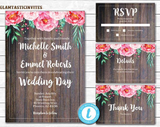 Rustic Wedding Invitation Printable, Country Wedding Invitation, Wedding invitation suite, Wedding Template, YOU EDIT, INSTANT Download