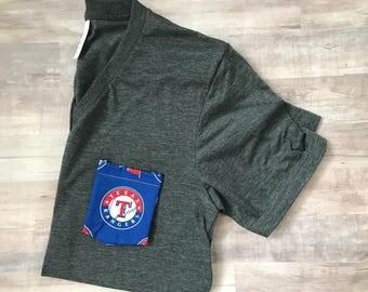 Sports Pocket Tshirt, Texas Rangers