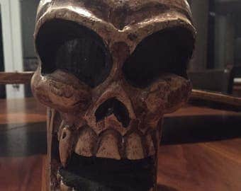 RARE - Unique Skull Figure With Wings Made of Wood