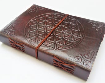 Leather journal, Flower of Life Journal, Notebook, Diary, Mandala notebook, Sketchbook.