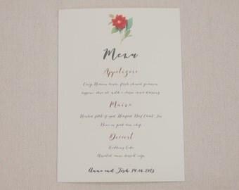Printable or printed - Free shipping - Camellia wedding - Floral wedding - floral invitation - camellia menu - floral menu - botanical menu