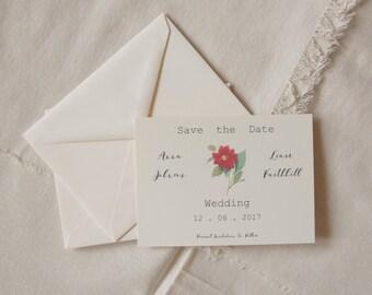 Printed or Printable - Save the Date - free shipping - Camellia wedding - floral STD - botanical wedding - garden wedding - Vintage wedding