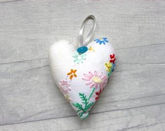 Hand Embroidered Handmade Stuffed Hanging Heart