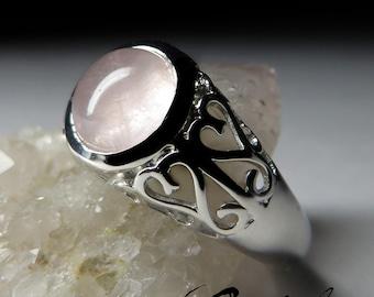 Rose Quartz Silver Ring art 6012 | Natural Organic Rose Quartz Sterling Silver Fine Jewelry
