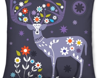 Woodland Deer Printed Velvet Cushion Cover