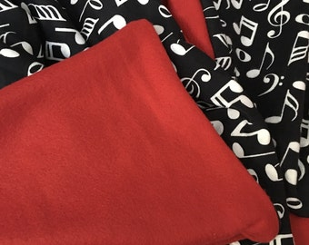 Music note infant blankie with red fleece back