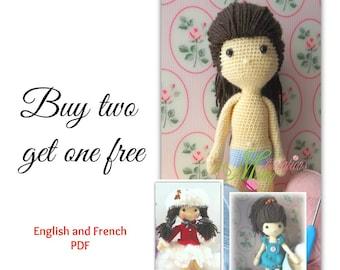 ENGLISH PATTERN doll + clothe skater + 1 pattern free, DUO patron poupée + vêtement patineuse