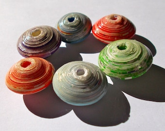 Jumbo Recycled Paper Beads - Fair Trade from Mzuribeads Uganda - Size 3cm Pack of 5 in Single Colours