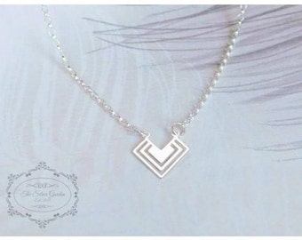 Silver Chevron Necklace, V Necklace, Sterling Silver Necklace, Birthday Gift, Geometric Necklace, Valentines Day, Mothers Day, Gift For Her