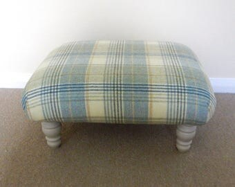 Upcycled Furniture - Tartan Footstool - Upholstered Ottoman - Painted Furniture - Moon Fabric - Living Room Furniture - UK SHIPPING