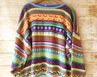 Boxy Spring Sweater - Bright Patterned Sweater - Striped Jumper - BOHO HIPSTER Slouchy - Cropped - Size Large -