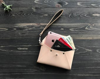 SALE 10% OFF!! Leather envelope clutch with wristlet, Leather envelope wallet, Leather envelope, Leather envelope pouch, Leather mail clutch