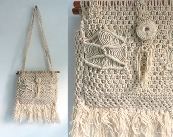 Vintage Cream Crocheted Purse, Macrame Purse, Crocheted Purse, Hippie Bag, Off White  Bag, Woven Bag, Purse, Over Shoulder Purse, Fringe