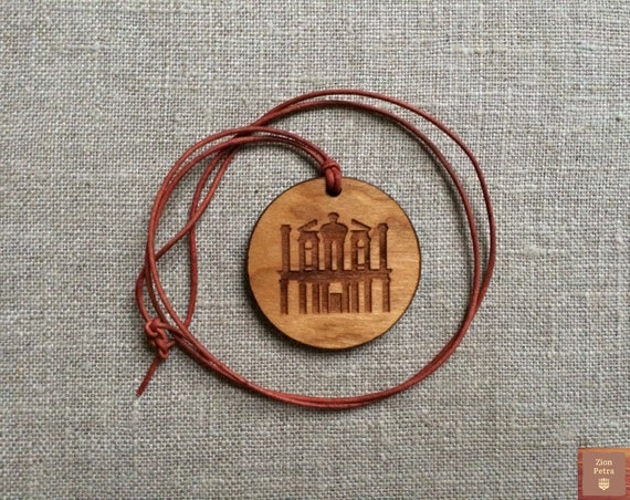 The Treasury Al-Khazneh Petra Kadesh-Barnea Carved Pendant—Recycled Cherry Wood & Chemical-Free Brick-Red Leather