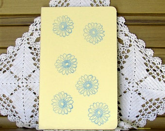 Moleskine Cahier Journal-Pastel Yellow with Hand-Stamped Blue Flowers