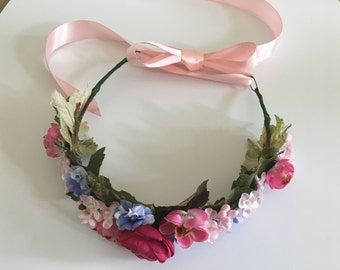 Headband, Flower Hairband, Bridal Hair Vine, Spring Hair Accessory.