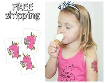 "Set of 3 temporary tatts ""Eating ice cream unicorn"". Tatts for kids. Skin-safe and non-toxic. TT054"
