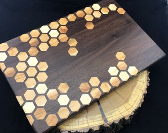 Large Honeycomb inlay Cutting board- Walnut & Maple Pattern #2