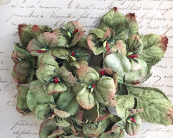 antique green viola posy . millinery flowers. velvet flowers. scrapbooking flowers. craft flowers. flowers for collages and mixed media