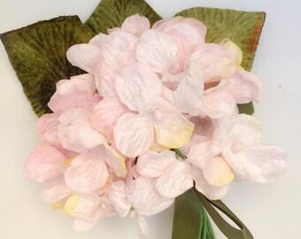 pale pink hydrangea posy. velvet flower posy. millinery flowers. velvet posy. wholesale millinery. millinery flowers. flower girl posy.