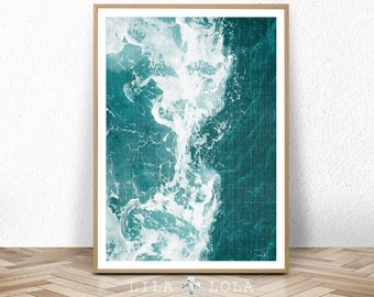 Coastal Wall Art Print, Teal, Turquoise Blue and White Abstract, Ocean Water, Waves, Beach Decor, Digital Download, Large Printable Poster