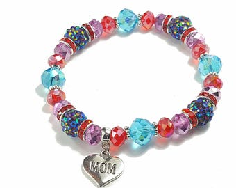 Mother's Day heart charm mom to be Turquoise purple Red blue shambala stretch bracelet