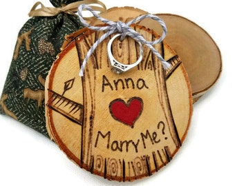 custom proposal ring holder, engagement ring holder, will you marry me, proposal holder, engagement gift, engagement ring, rustic proposal