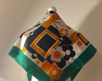 Square Scarf. Groovy Funky Print. Squares and Flowers. 1960's