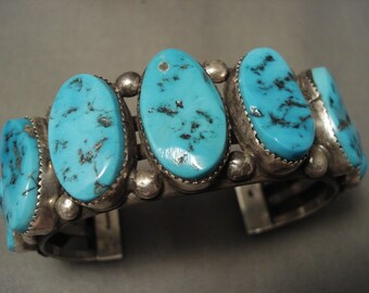 Huge And Chunky Vintage Navajo Old Sleeping Beauty Turquoise Silver Bracelet