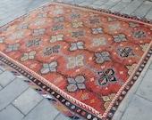 "Vintage Oversized Turkish Kilim Rug, Handmade Blue Red Decorative Wool Kilim Rug , Anatolian Home Decor Floor Rug Kilim, 323x275cm,129""x110"""