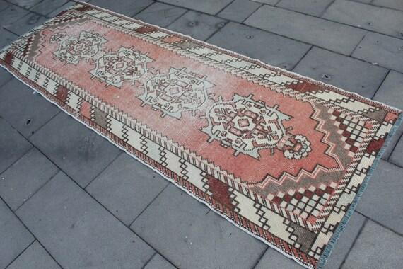"""Vintage Turkish Wool Runner Rug, Handmade Distressed Hallway Wool Turkish Red Runner Rug, Red Oushak Wool  Rug Runner 283x94cm,113""""x38"""""""