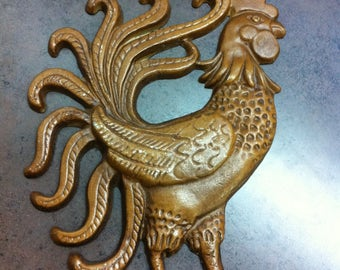 Vintage Rooster Plaque - Cast Iron Mold - Made in USA - Brown Rooster - Kitchen Decor