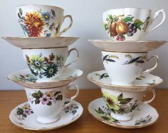 Vintage Tea Set, Mismatched Teacups and Saucers, Autumn Tea Cup and Saucer, English Bone China, Fall Floral Tea Party