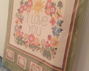 Sunset stitchery Thougts to Stitch Flowers Frog Turtle Bee Ladybug Crewel Kit