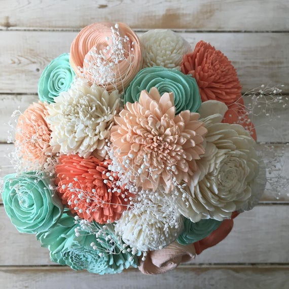 wooden flowers wedding bouquets coral and mint wooden flower bouquet sola flower bouquet 1486