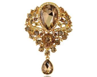 Champagne Crystal Gold Bling Rhinestone Flower Brooch Pin Wedding Bridal Bouquet DIY Jewelry (TDK-W1138)