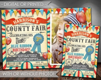 County Fair Invitation, County Fair Birthday Invitation, County Fair Invite, Carnival Invitation, Red and Blue, Vintage, Rustic #565