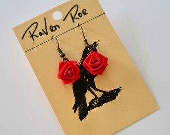 Romantic Red Rose Dangle Drop Earrings