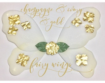 Ivory fairy wings - Champagne fairy wings - Gold fairy wings - Wedding wings - Fairy wings costume - Childrens fairy wings - Fairytale Tutus