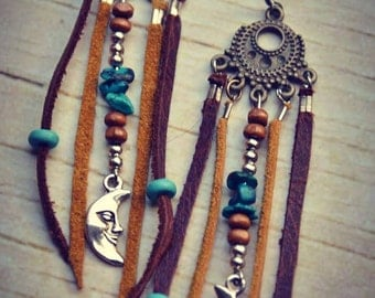 Ethnic Leather Earrings Moon Feathers Native Bohemian Hippie Tribal Gipsy Moon