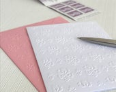 DAMASK Set of 6 Embossed Cards (No.128) - Pack of 6 White Blank Cards. Perfect to use as note cards or to give as a gift