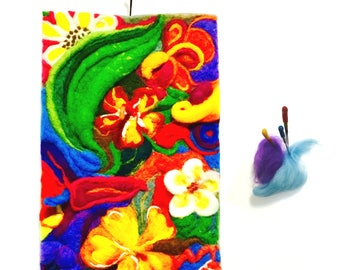 Floral 3D Fantasy Wool Painting, Needle Felted Art.