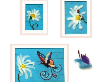 Shabby Chic Daisy's, Aqua Wool Pictures, Original Hand Crafted Gift, Needle Felted Art, Absolute Original Framed Fibre Art Pictures