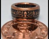 Copper Coin Ring - Memento Mori - The Last Laugh - Mens Ring - Mens Gift