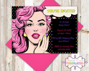 Personalized Printable Invitations Street Signs | Pop Art |  Pink Haired Girl | You're Invited | Birthday |   #386