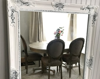 White Shabby Chic Mirror, Large Bathroom Mirror, Vanity Mirror, Baroque  Mirror, Wall