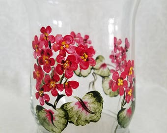 Geranium candle votive, handpainted geranium glass candle votive, geranium tabletop decor, round glass votive, red painted  flower votive